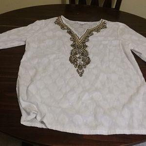 White v neck Coldwater Creek shirt